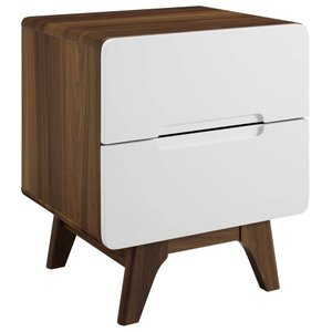 Origin Wood Nightstand Walnut And White