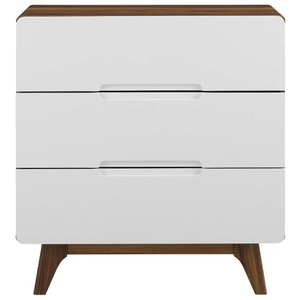 Origin 3-Drawer Nightstand Walnut And White
