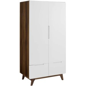 Origin Wood Wardrobe Cabinet Walnut And White