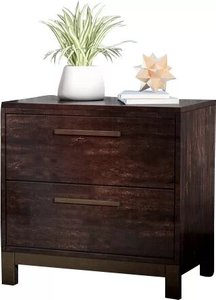 Shrout 2 Drawer Nightstand Rustic Tobacco/Dark Bronze