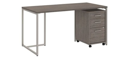 """Method 60"""" Table Desk With 3 Drawer Cabinet Cocoa"""
