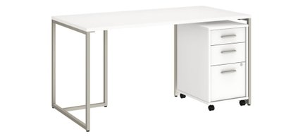 """Method 60"""" Table Desk With 3 Drawer Cabinet White"""