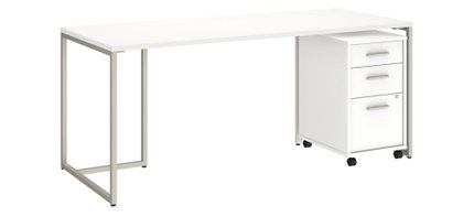 """Method 72"""" Table Desk With 3 Drawer Cabinet White"""