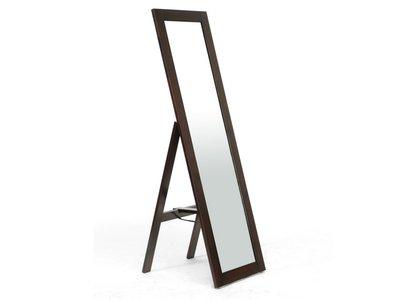 Baxton Studio Modern Mirror with Built-In Stand Dark Brown