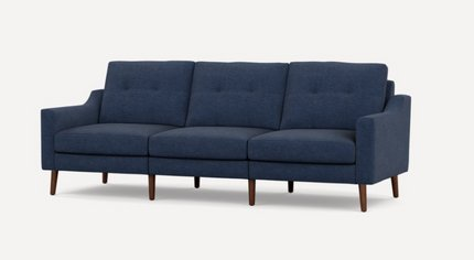 Nomad Low Arm Sofa Navy Blue And Walnut