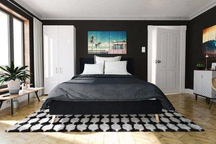 Hesketh Upholstered Platform Queen Bed Blue