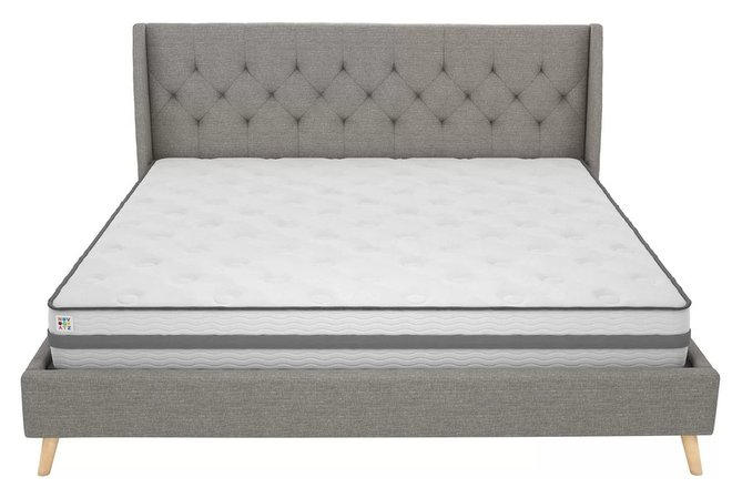 Hesketh Upholstered Platform Queen Bed Gray