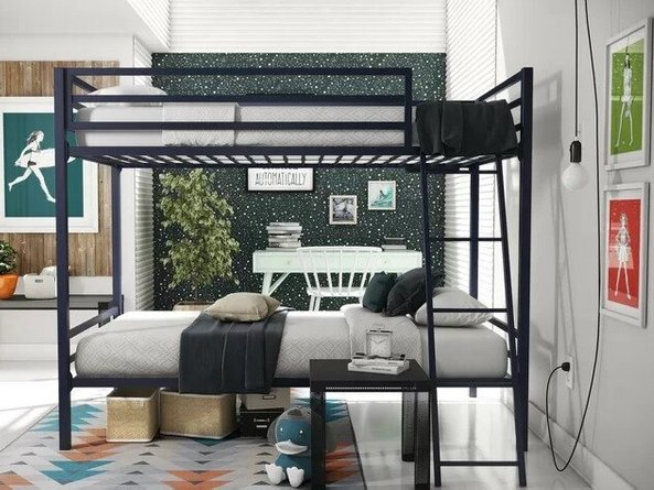 Maxwell Twin Over Twin Bunk Bed Navy Blue