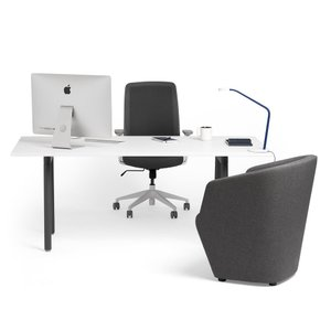 "Series A Executive Desk, White, 72"", Charcoal Legs"