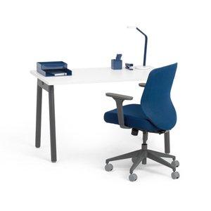 "Series L Adjustable Height Single Desk, Walnut, 57"", Charcoal Legs"