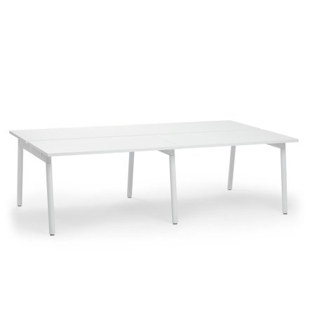 "Series A Double Desk for 4 White Legs, 47"" White"