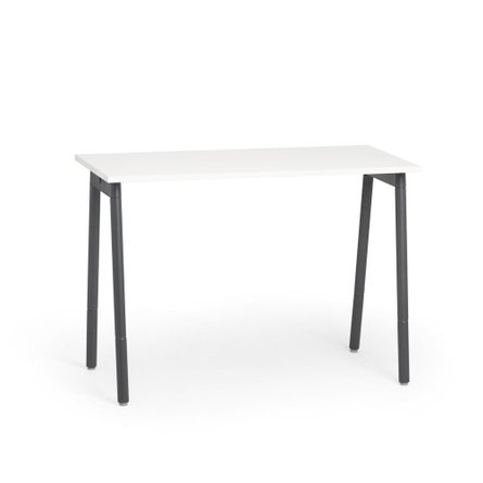 """Series A Standing Single Desk for 1, White, 57"""", Charcoal Legs"""