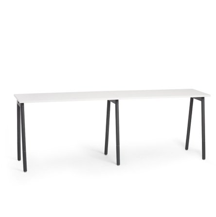 "Series A Standing Single Desk for 2, White 47"", Charcoal Legs"
