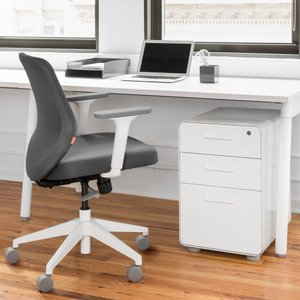 Max Task Chair, Mid Back, White Frame Dark Gray