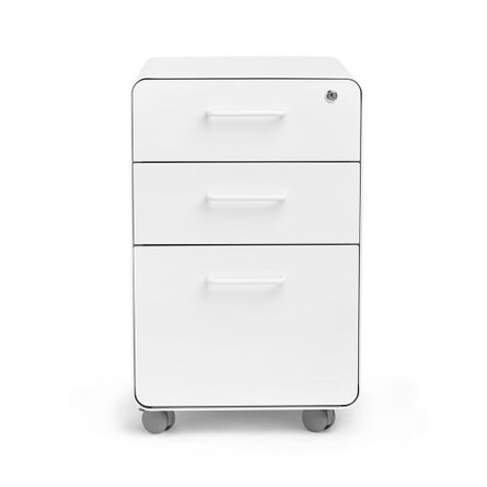 Stow 3-Drawer File Cabinet White, Rolling