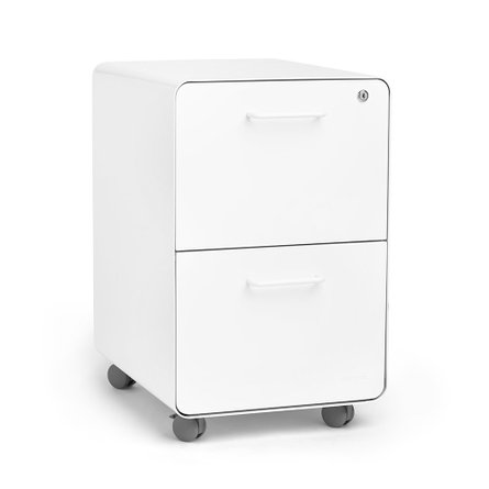 Mini Stow 2-Drawer File Cabinet Rolling, White