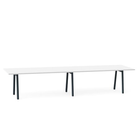 """Series A Conference Table, White, 144x36"""", Charcoal Legs"""