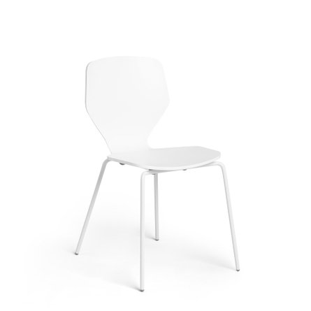 Groove Stacking Side Chairs, Set of 2 White