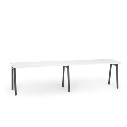 "Series A Single Desk for 2, White, 57"", Charcoal Legs"