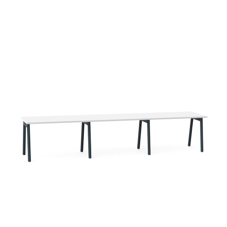 """Series A Single Desk for 3, White, 57"""", Charcoal Legs"""