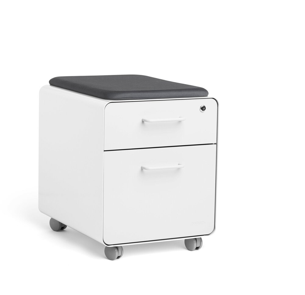 Beau Mini Stow 2 Drawer File Cabinet White