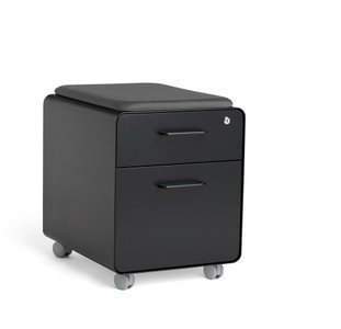 Black Mini Stow 2-Drawer File Cabinet with Seat, Rolling