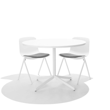 White Key Chair, Set of 2, with Gray Seat Pad