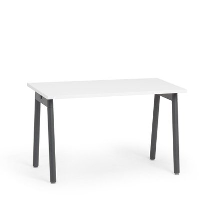 """Series A Single Desk for 1, White, 47"""", Charcoal Legs"""