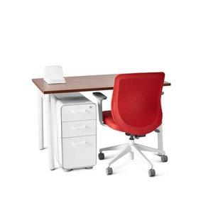 "Series A Single Desk for 1, Walnut, 47"", White Legs"