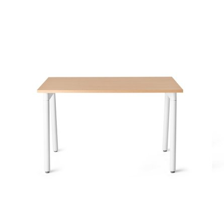 "Series A Single Desk for 1, Natural Oak, 47"", White Legs"