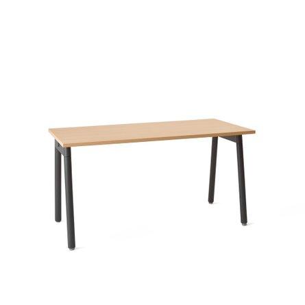 "Series A Single Desk for 1, Natural Oak, 57"", Charcoal Legs"