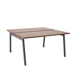 "Series A Double Desk for 2, Walnut, 47"", Charcoal Legs"