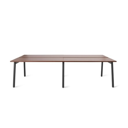 "Series A Double Desk for 4, Walnut, 47"", Charcoal Legs"