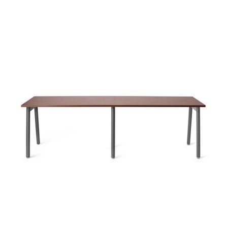 "Series A Single Desk for 2, Walnut, 47"", Charcoal Legs"