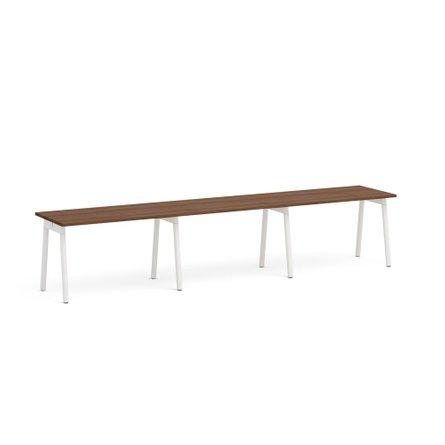 "Series A Single Desk for 3, Walnut, 57"", White Legs"