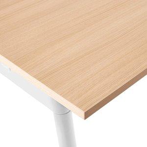 "Series A Single Desk for 3, Natural Oak, 57"", White Legs"