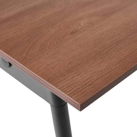 "Series A Single Desk for 3, Walnut, 57"", Charcoal Legs"