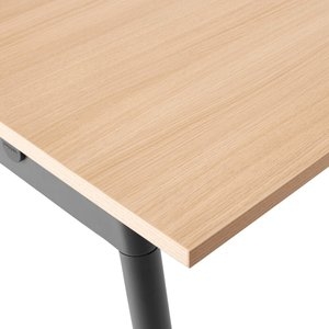 "Series A Single Desk for 3, Natural Oak, 47"", Charcoal Legs"