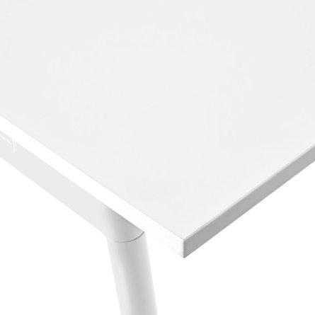 "Series A Double Desk for 6, White, 57"", White Legs"
