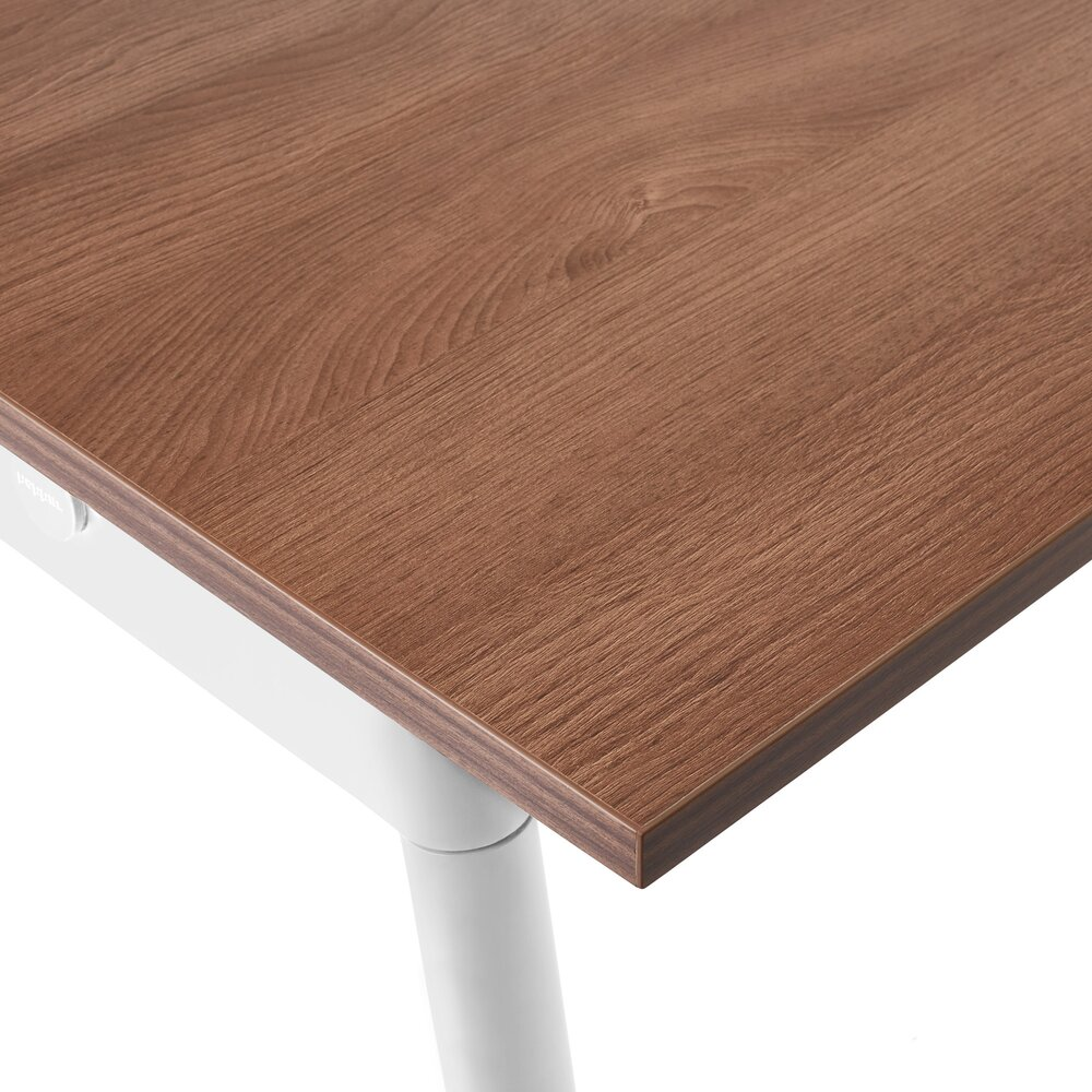 """For Rent San Francisco Bay Area: Series A Double Desk For 6, Walnut, 47"""", White Legs In SF"""