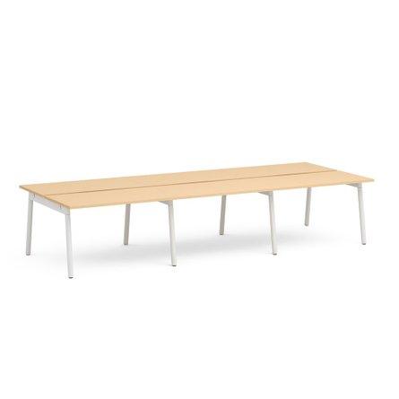 "Series A Double Desk for 6, Natural Oak, 57"", White Legs"