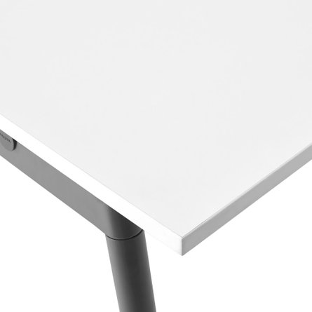 "Series A Double Desk for 6, White, 47"", Charcoal Legs"