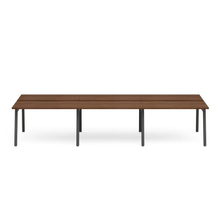 "Series A Double Desk for 6, Walnut, 47"", Charcoal Legs"