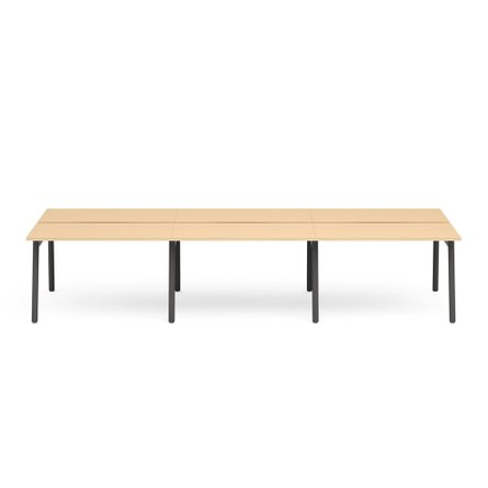 "Series A Double Desk for 6, Natural Oak, 47"", Charcoal Legs"