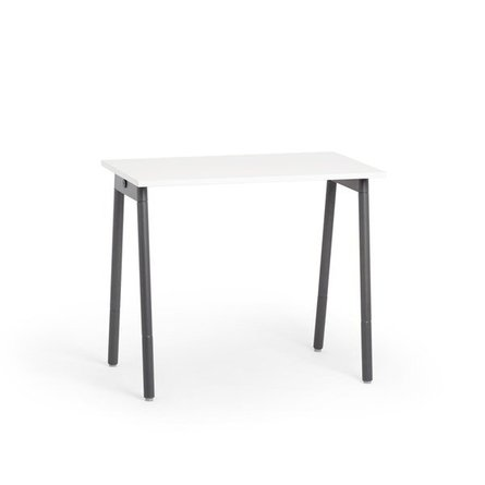 "Series A Standing Single Desk for 1, White, 47"", Charcoal Legs"