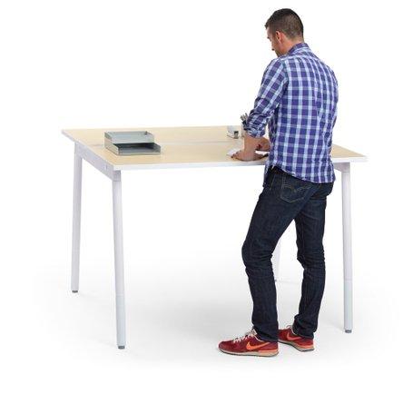 """Series A Standing Double Desk for 2, Light Oak, 57"""", White Legs"""