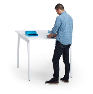 "Series A Standing Double Desk for 2, White, 47"", White Legs"