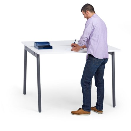 """Series A Standing Double Desk for 2, White, 47"""", Charcoal Legs"""
