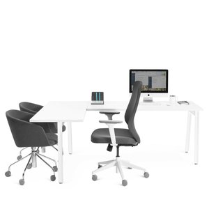 Series A Corner Desk, White with White Base, Left Handed