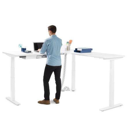 White Series L Adjustable Height Corner Desk White Base, Right Handed